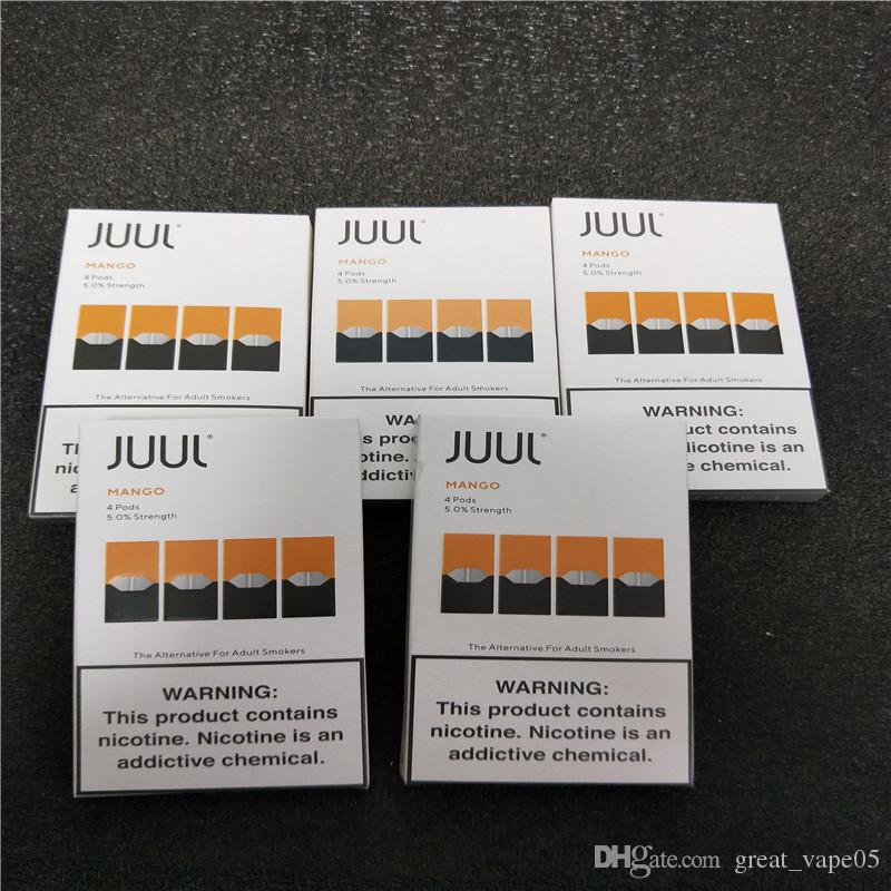 2020 CHEAP Juul Pods vape cartridge for juul device 4 pods 1 pack , best  seller mango and Cool Mint pod, latest Package version