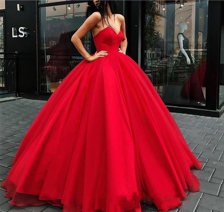 4ba6226abc7d Puffy Red Ball Gown Quinceanera Dresses 2019 Princess Sweetheart Sleeveless Sweet  16 Girls Prom Party Pageant Gowns Plus Size Custom Made Dresses To Wear To  ...