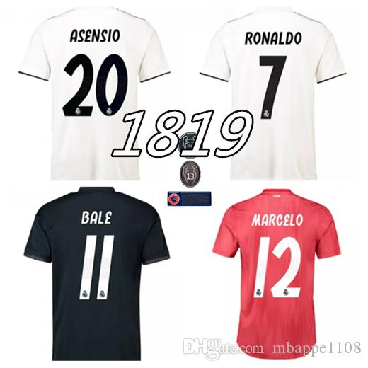 18c3fc4e582 2019 Top Quality 2018 2019 Real Madrid Soccer Jersey CR7 RONALDO MODRIC  BALE ISCO RAMOS Asensio Football Shirt Champions League Uniform From  Mbappe1108