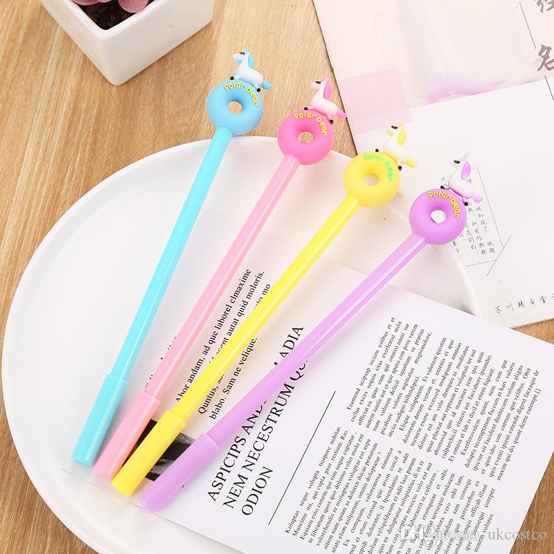 2019 4 Colors Cute Unicorn Gel Pen with 0.5mm Black Ink Cartoon Signature Pens Creative Stationery Student School Office Supplies Gift M735F