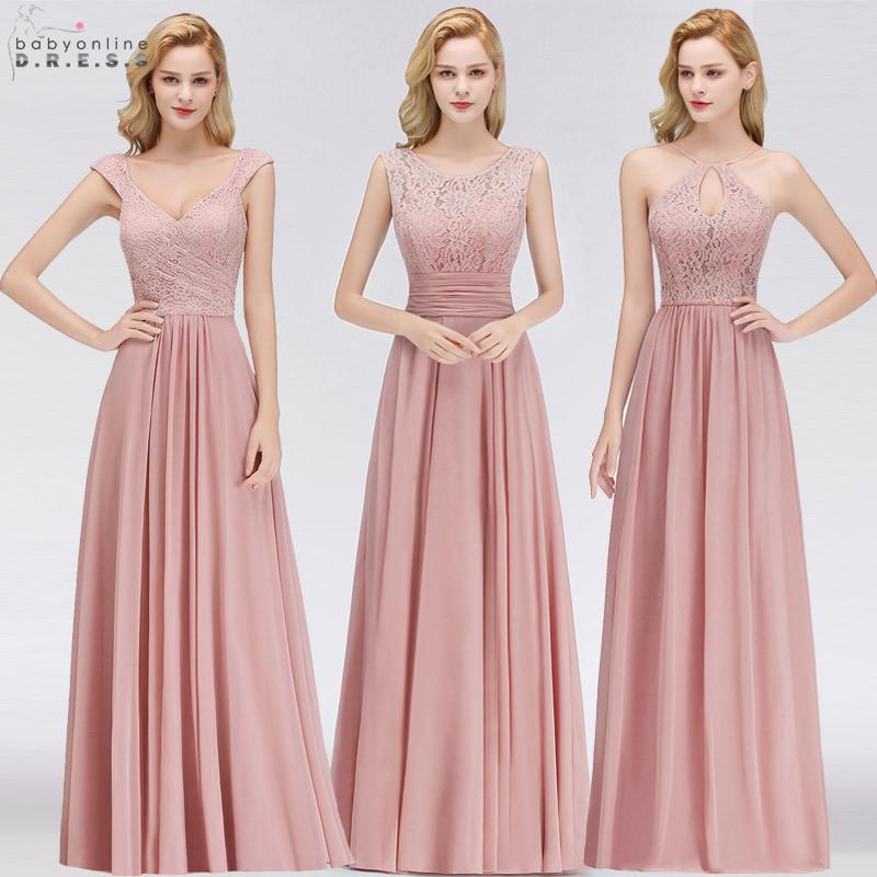 ca9f0a8ec5 Vestido Madrinha Pink Lace Long Bridesmaid Dresses Sexy A Line Chiffon  Dress For Wedding Party Robe Demoiselle D honneur C19041901