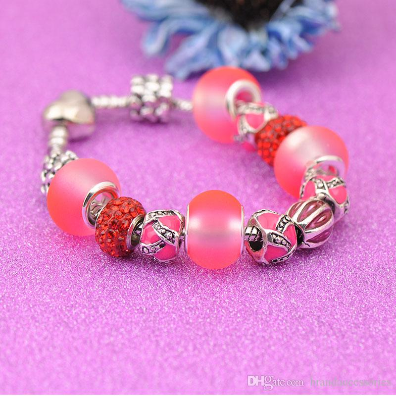 Designer 925 Silver Bracelets Fit Pandora Women Red Matte Crystal Glass Beads Openwork Embossed Bangle Heart Shaped Clasp Jewelry P207
