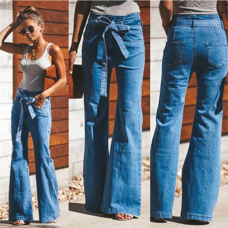 d3e8ac6c7c Compre Mujeres Flare Jeans Cintura Alta Pierna Ancha Vintage Jeans  Bellbottoms Plus S 4XL Con Cinturón Moda Stretch Girls Denim Pantalones  Otoño Primavera A ...