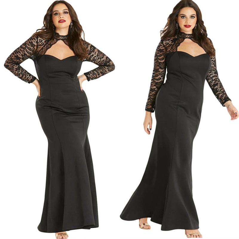 Cheap Black Plus Size Formal Dress Long Sleeve Backless Sweep Train