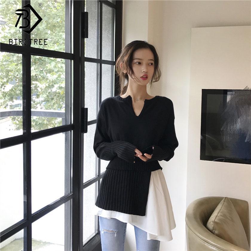 cb3e7da62a4de 2019 New Autumn Fashion Ladies Full Sleeve Top Irregular Patchwork ...