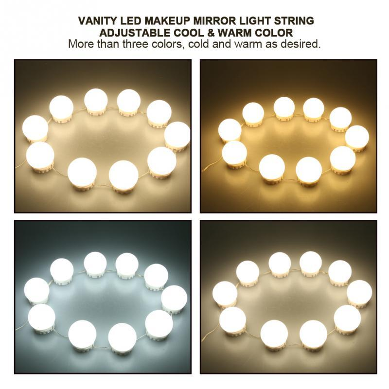 Magnificent 10 Bulbs Vanity Led Makeup Mirror Lights Dimmable Bulb Concealable Wiring 101 Ivorowellnesstrialsorg