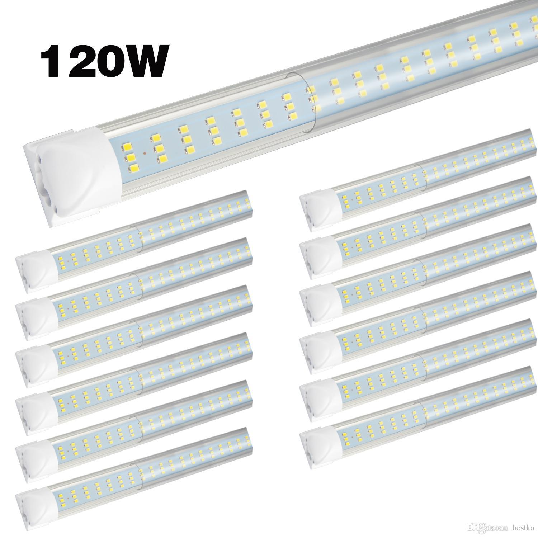 Led Shop Lights >> 8 20pcs 8ft Led Shop Lights Fixture 120w 12000lm 6000k Cool White Flat 3 Row Tube Light No Ballast Super Bright White Bulbs For Garage