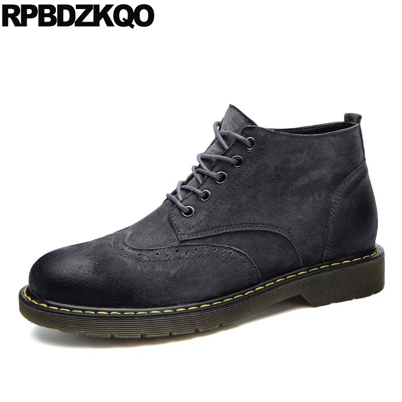 007f7cbc18 stivali da combattimento retrò vintage designer stivaletti autunno suede  scarpe brogue corti pantaloni a coda di rondine militari militari ...