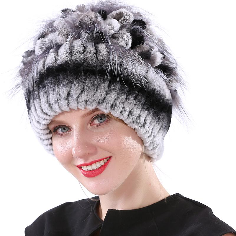 Winter Hats For Women Rabbit Hat Knitted Elastic Real Fur Hat Winter Fur Hat  S18120302 Ski Hats Newborn Hats From Datai f8e98c0dbc4