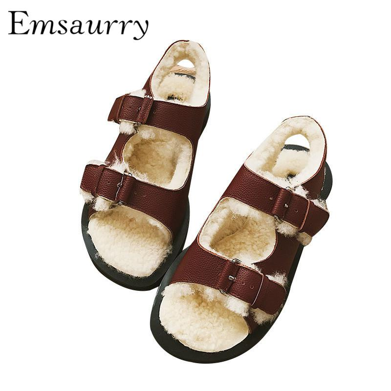 a7d720a13 New Chic Autumn Winter Wool Sandals Women Studded Buckle Fur Embossed  Leather Sandalias Zapatas De Mujer Mens Sandals Reef Sandals From  Hongxuanstore004