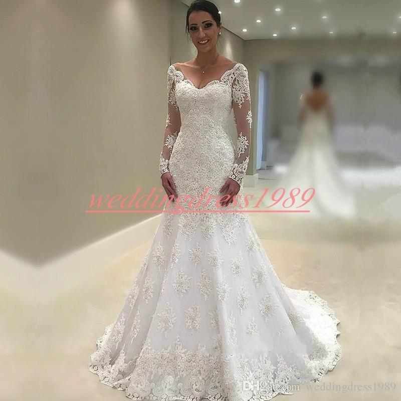 4689ba1f7e5 Vintage 2019 Lace V Neck African Mermaid Wedding Dresses Long Sleeve  Illusion Saudi Arabia Plus Size