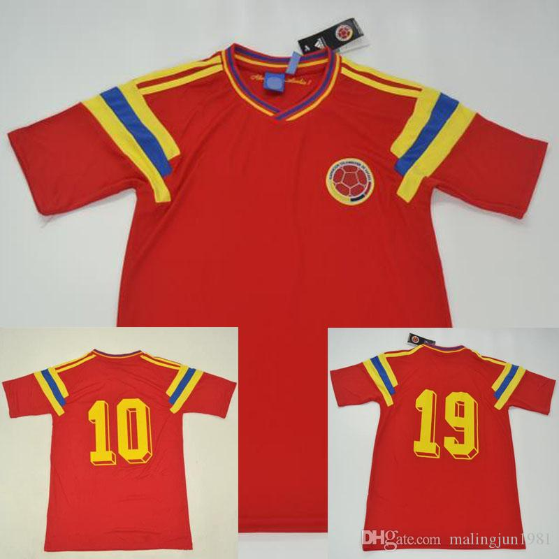 Colombia 1990 Retro soccer jersey Valderrama Guerrero red classic commemorate antique Collection vintage football shirt Camiseta