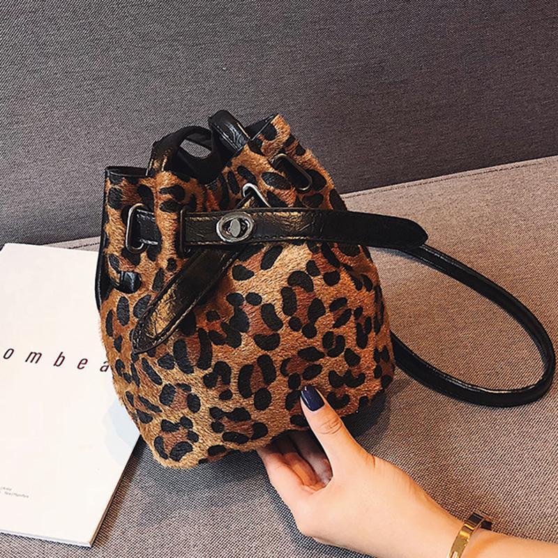 37779f4cd4ea 2019 Fashion Small Bucket Bag For Women 2018 Plush Leopard Print Messenger  Crossbody Bags Shoulder Hand B Lady Winter Handbags And Purses Black Handbag  ...