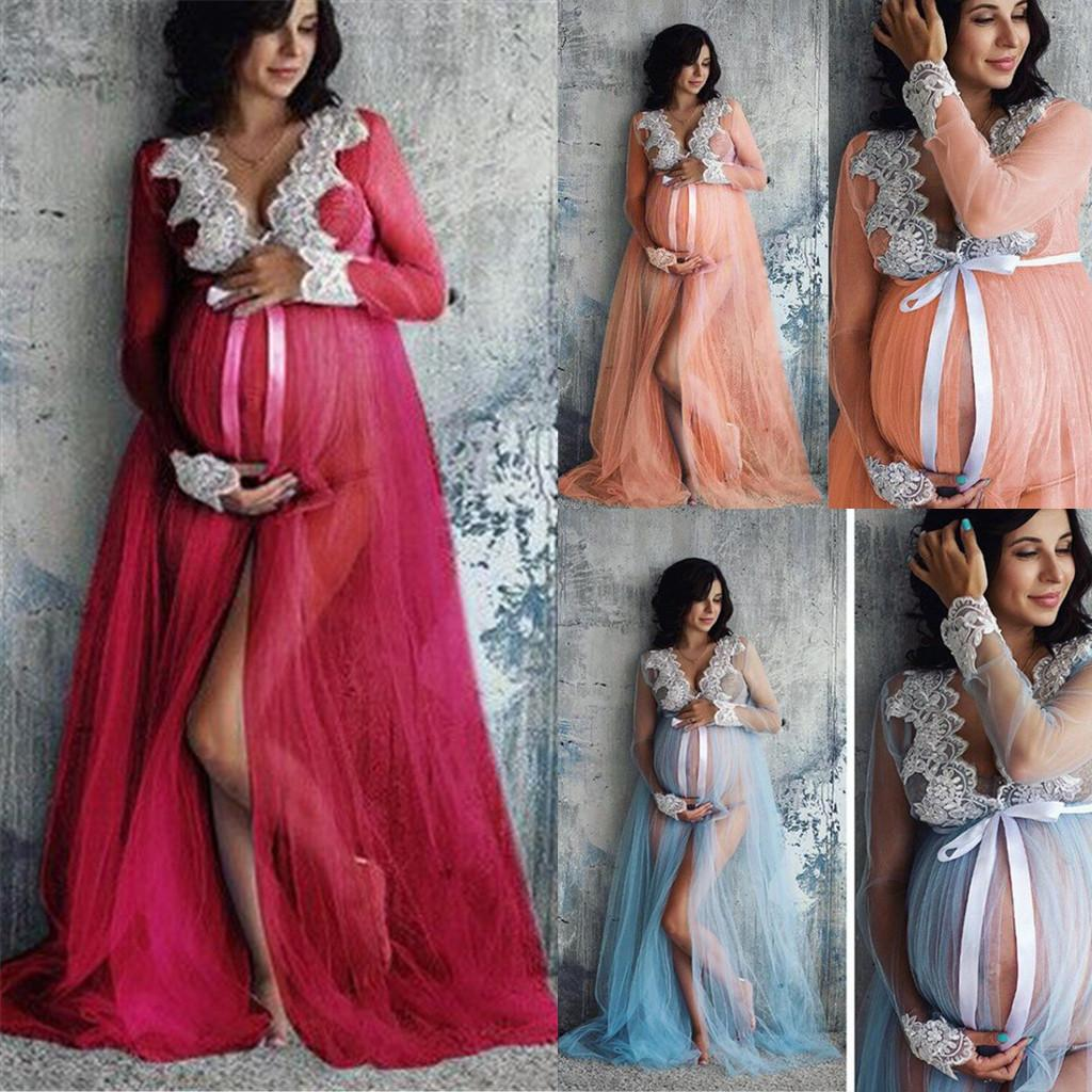 30bcf526540 2019 New Summer Lace Maternity Dress Women Pregnant Maternity Gown  Photography Props Costume Pregnancy Lace Long Maxi Dress From Coolhi