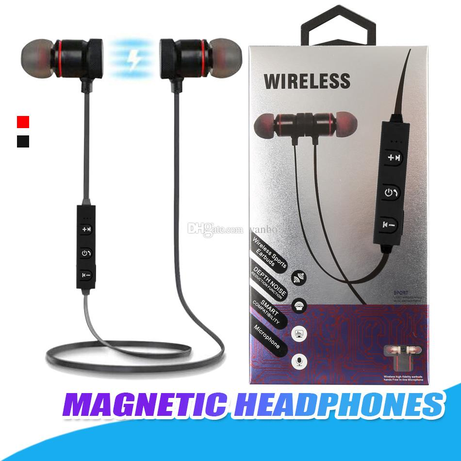 Magnetic Bluetooth Headphones Metal Wireless Earbuds In-Ear Sweatproof  Earphones Mic MP3 Earbuds Bass Stereo For iPhone Samsung With Package