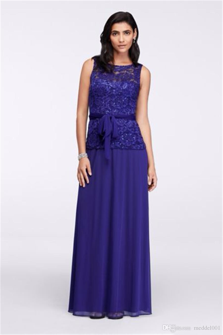 A-Line Sleeveless Lace-Bodice Dress with Waist Tie Royal Blue Sexy Mother of the Bridal Wedding Party Dress Formal Dresses