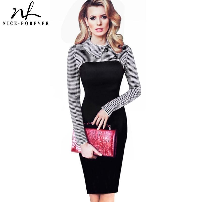 Nice-forever Elegant Vintage Fitted Winter Dress Full Sleeve Patchwork Turn-down Collar Button Business Sheath Pencil Dress B238 J190508
