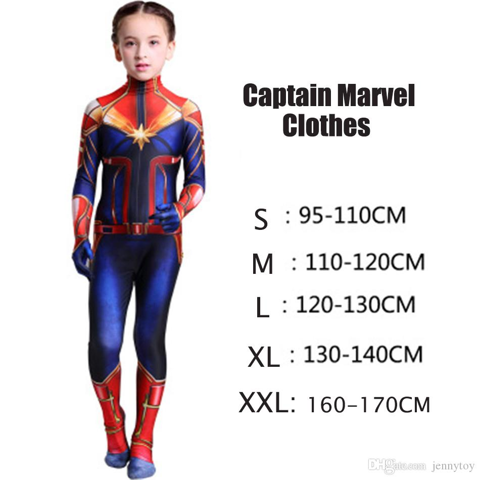 The avengers Captain Marvel Carol Danvers Ms Marvel Costumes Catsuit Tracksuit cosplay 3D Printed slim rompers jumpsuit clothes
