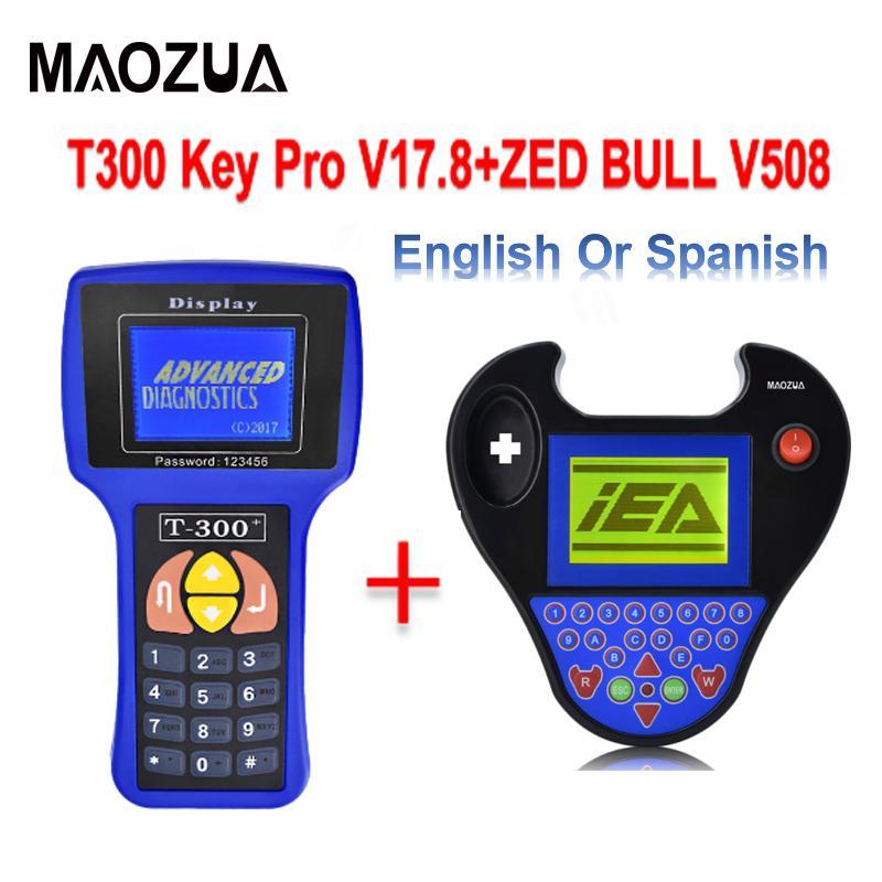 Maozua Newest T-300 T300 Auto Key Programmer T Code Decoder 300 Software  V17 8 OBD2 Car Key Programmer English Spanish Optional
