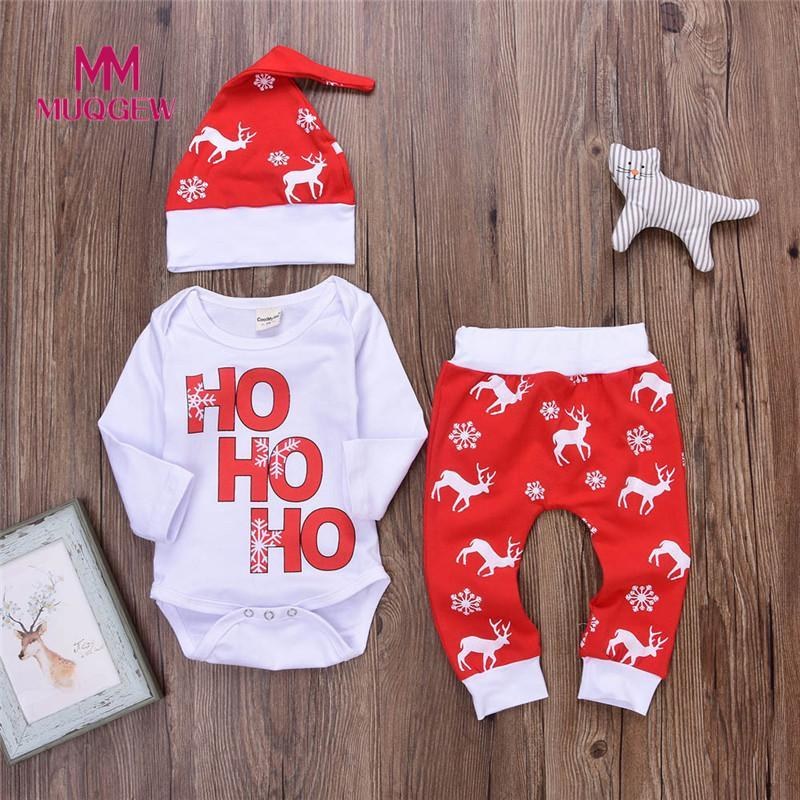 8f32f11ab6 2019 Winter Baby Clothing Romper Long Sleeve O Neck Tops+Pants Christmas  Outfits Deer Outfits Cartoon Set Boy Girl Suits Tops 2018 Y18120303 From  Shenping01 ...