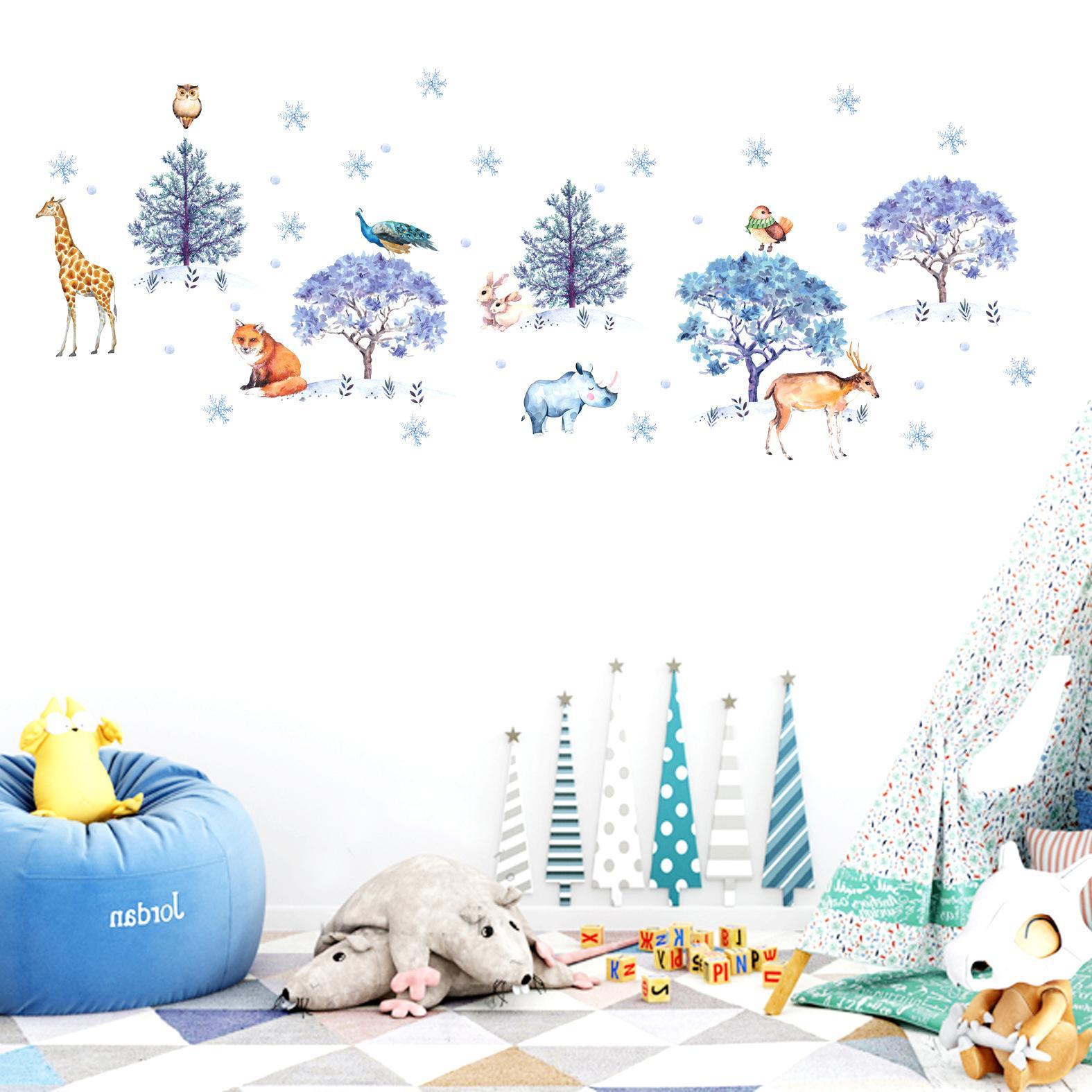 Adesivi Da Parete Per Bambini.New Wall Sticker Snowflake Forest Animal Adesivo Per Camerette Decorativo Da Parete Per Bambini