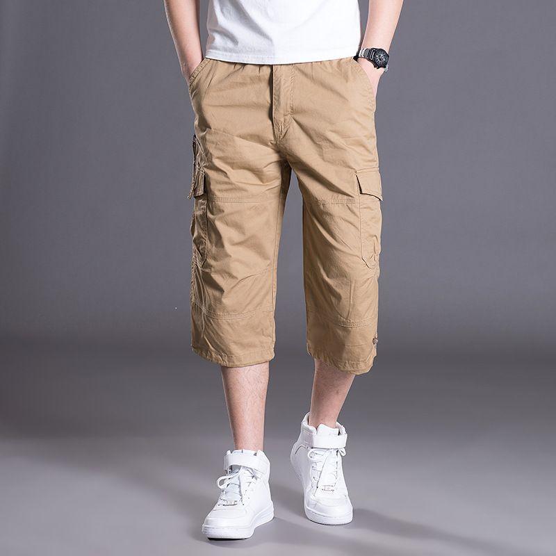 0b207a9e12 Summer Men's Baggy Multi Pocket Cargo Straight Shorts Breeches Male Long  Army Green Khaki Mens Loose Short Plus Size 5xl C19042101