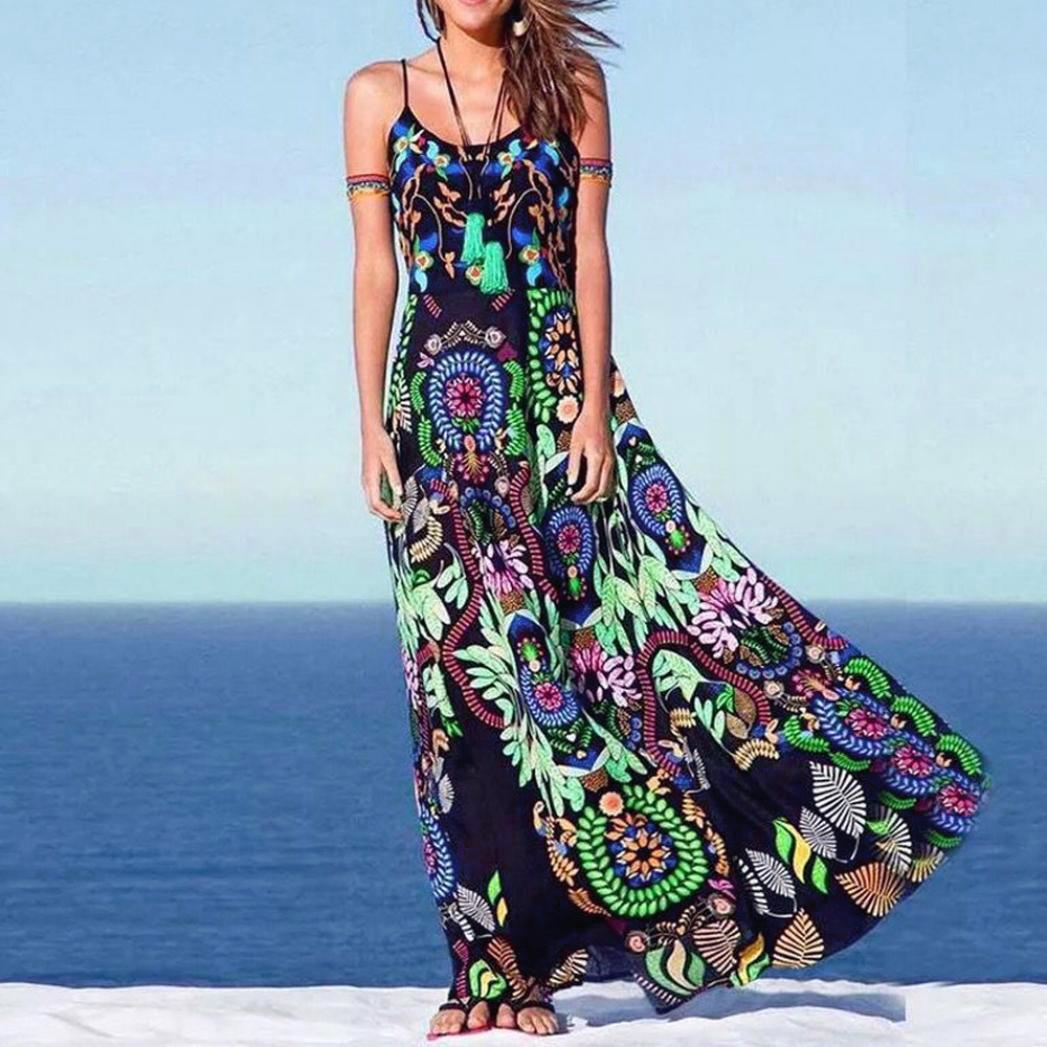 20615507bbd61 Satın Al Yaz Kadın Elbise 2019 Bohemian Bayan Çiçek Baskı Sling Uzun Elbise  Kolsuz Plaj Elbise Tarzı Kadın Giyim, $27.03 | DHgate.Com'da