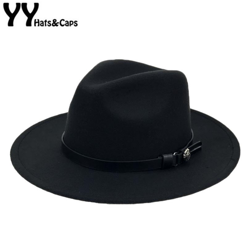 94374b5aba0 Winter Wool Panama Hats Men Solid Color Wide Brim With Belt Felt CAPS Women  Vintage Jazz Hat Vintage Trilby CAPS Church YY18007 D19011102 Easter Hats  Fur ...