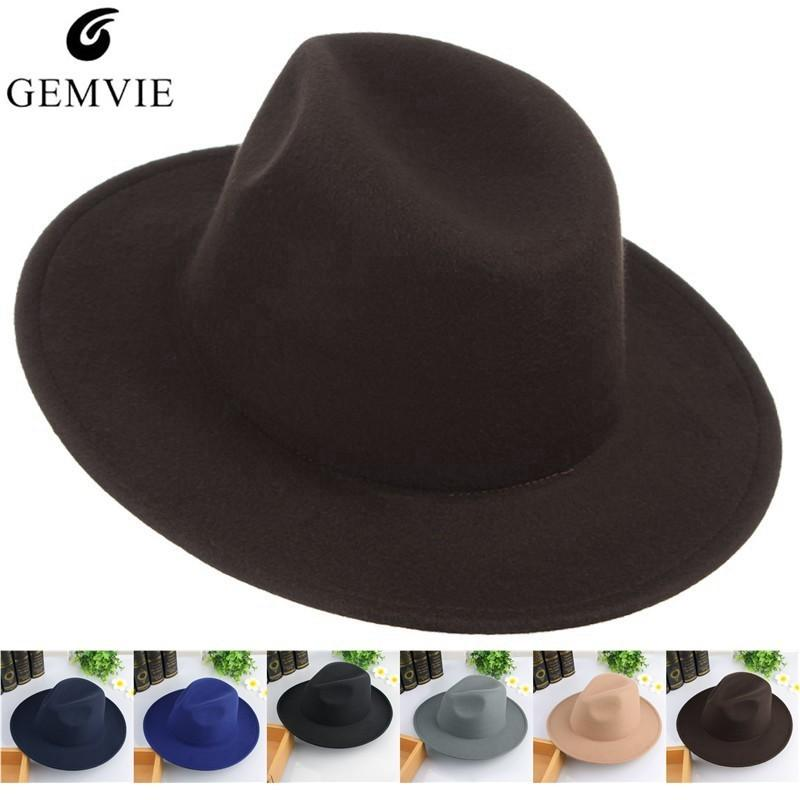 86ab009a5 Vintage Men Hats Classical Jazz Cap Solid Color Wide Brim Felt Hats Autumn  Winter Warm Jazz Caps Church Panama Men Fedoras D19011102