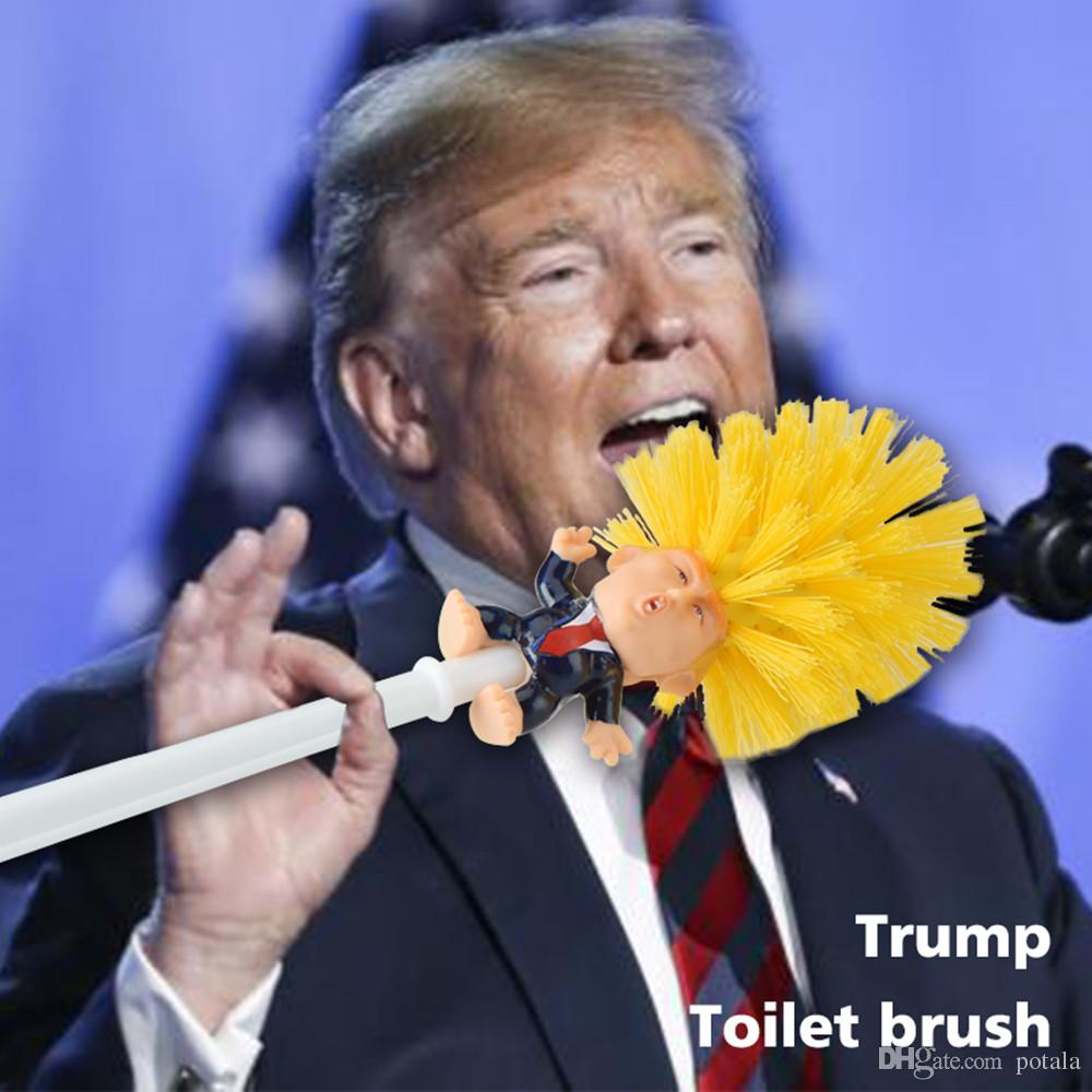 Gold Donald Trump Toilet Brush Cleaner Funny Toilet Scubber Make Toilet Great Again Commander in Crap Scrubber Funny Bowl Brush Novelty Gag