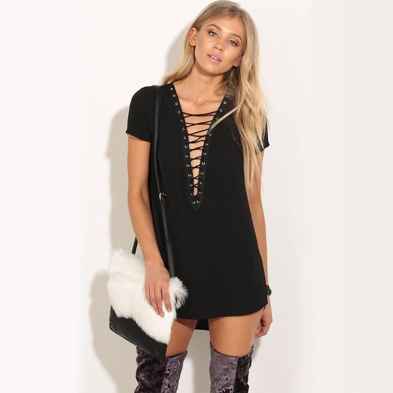 9292fd65b5182 Party Women Dress Sexy Deep V Asymmetrical Lace Up Short Sleeve Dress 2019  Summer Mini Dress Short Fashion Ladies Black vestidos
