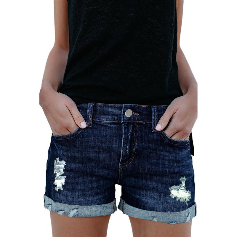 c686afbf 2019 Women Sexy Ripped High Rise Denim Shorts Elegant Ladies Summer  Distressed High Waist Mini Dark Blue Jeans Shorts Plus Size From  Crutchline, ...