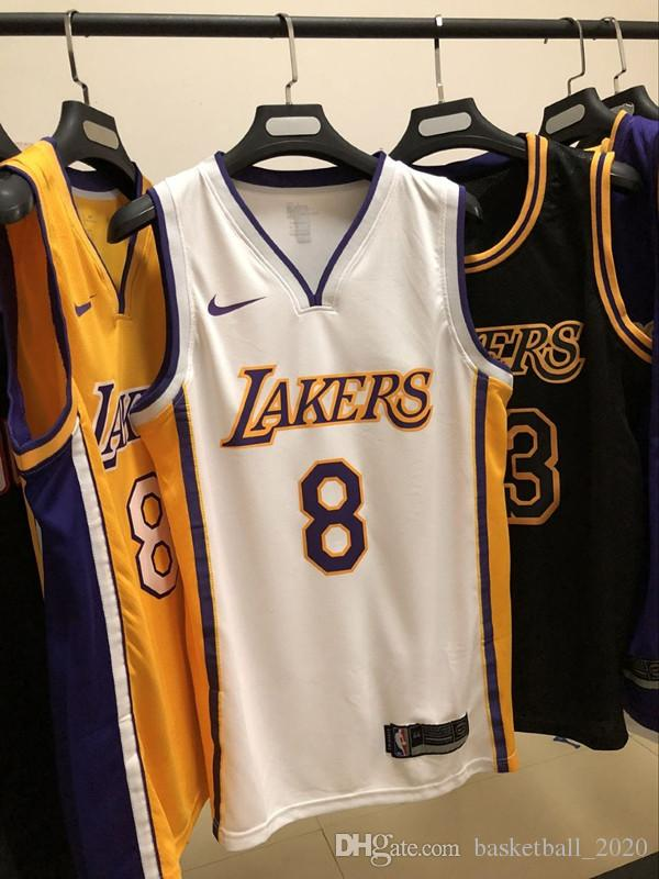 classic fit 6a4f2 3bc72 2020 New Mens 8# Kobe Bryant Alternate White Swingman Basketball Jersey All  Name And Number Hot pressing printed Authentic US Size XXS-XXL