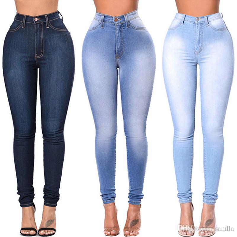 f2bc582d35 2019 Jeggings Jeans For Women Black Blue Jeans High Waist Elastic Stretch Ladies  Female Washed Denim Skinny Pencil Pants From Samlla, $56.99 | DHgate.Com