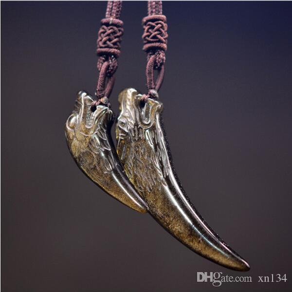 1af1329bf Wholesale Gold Obsidian Wolf Teeth Necklace Pendant Amulet Jade Pendant Fine  Jewelry With Chain Cute Pendant Necklaces Diamond Heart Pendant Necklace  From ...