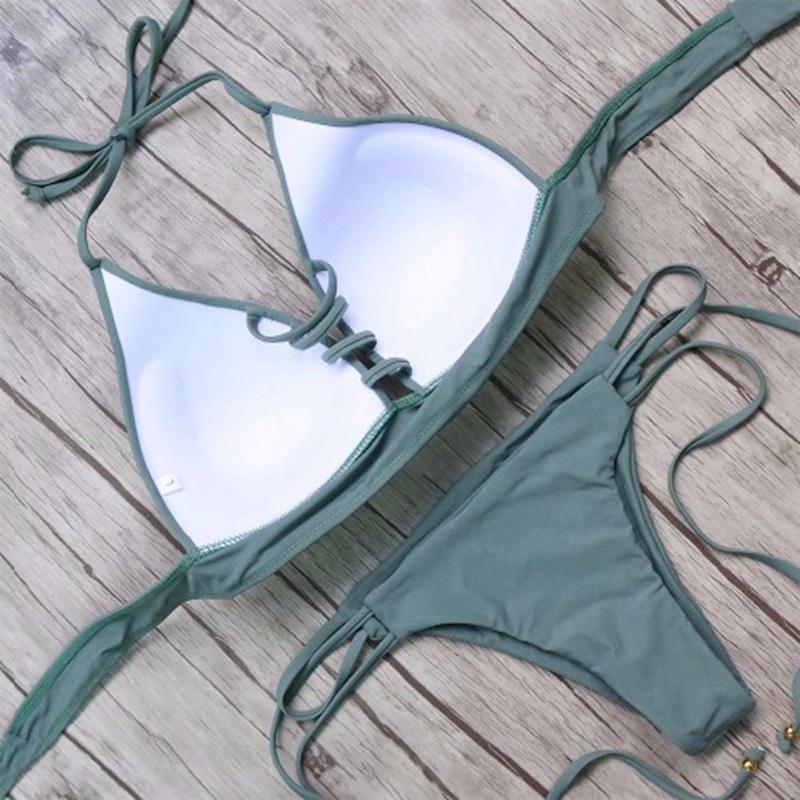 Vertvie String Thong Swimwear Sexy Women Bikini Set Bandage Beach Bathing Suit Low Waist Swimsuit Push Up Brazilian Biquini