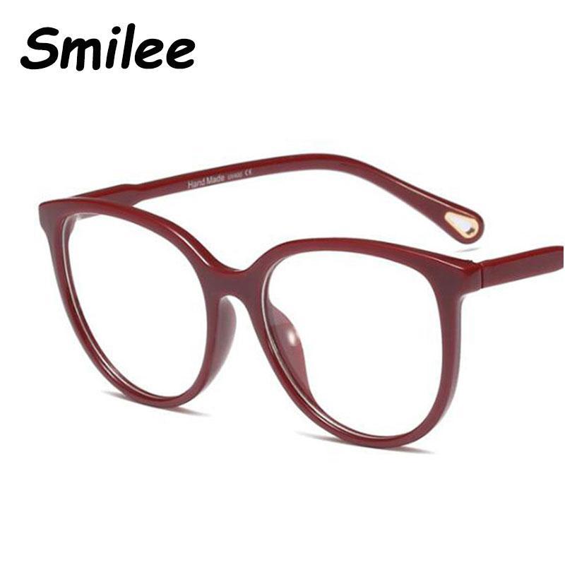 dd53f7c86af9e 2019 Red Spectacles Round Glasses Transparent Clear Lens Women s Fashion  Brand Designer Eyeglasses Big Cat Eye Glasses Frame