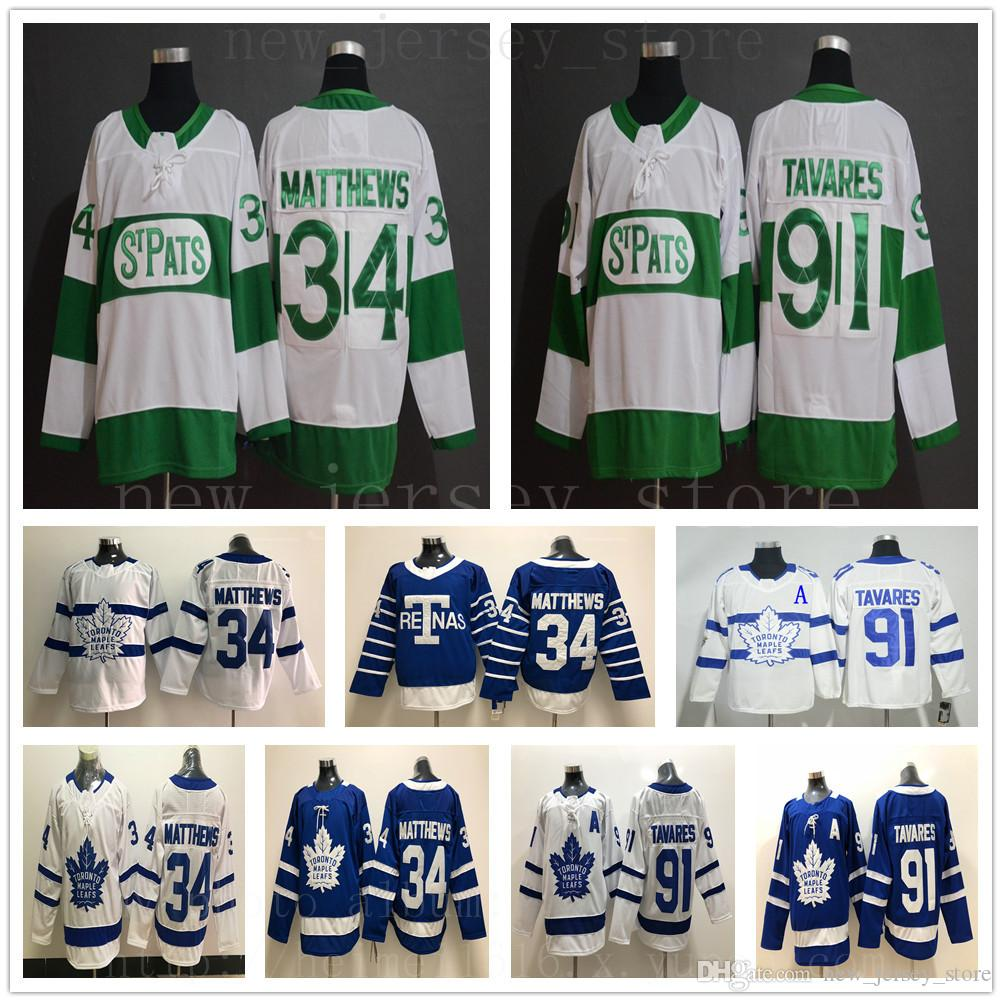 b87e42f79 2019 St Pats Pattys Day Toronto Maple Leafs Hockey Jerseys Green #34 Auston  Matthews #91 John Tavares Jersey Blue White Mens Kids Youth Women From ...