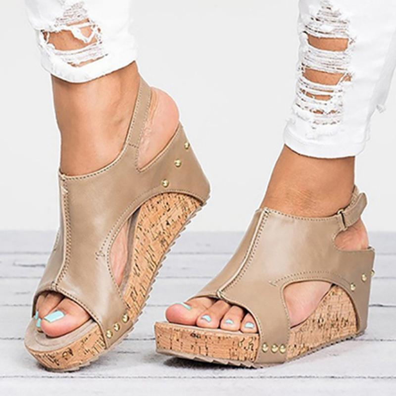2019 Platform Sandals Wedges Shoes Sandalias Mujer Summer Shoes Leather Wedge Heels Gladiator Sandals Women Sandals Y190706