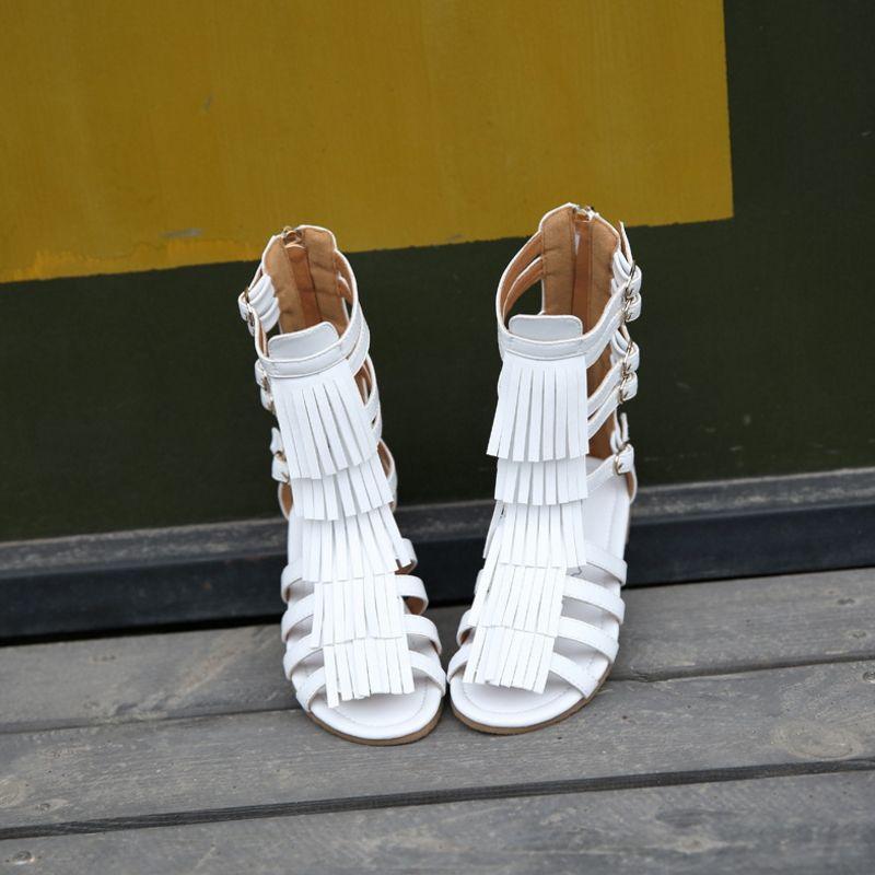 Con Flecos De Botas Chica Hollow Alto Niños Punta Verano 2019girls Princesa Fresca Sandalias Abierta Bote Zapatos Romana bf76gYy