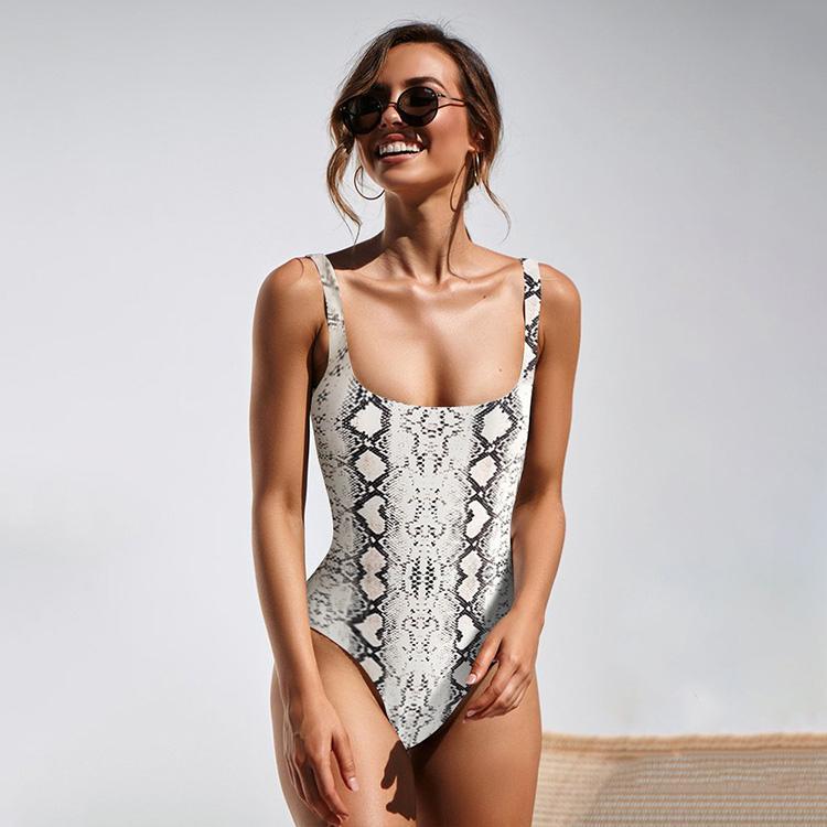 Selena Fanny Sexy Leopard Badeanzug Einteiliger Bikini Push Up Gepolsterte Brasilianische Badebekleidung Snake Print Plus Size Körper Badeanzüge