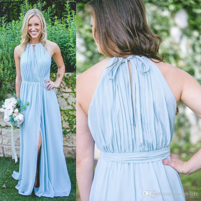 881cc73d1997 Acquista 2019 New Light Blue Sky Abiti Da Damigella D onore Una Linea  Halter Neck Chiffon Flow Hight Split Floor Lunghezza Maid Of Honor Wedding  Gown A ...