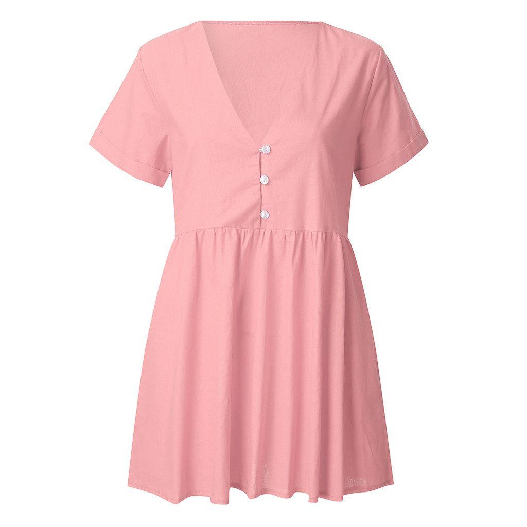9aa08d774ec3 MUQGEW Vestido con cuello en V de las mujeres Sexy Summer Swing Mini  vestido de la ropa de señora de manga corta de algodón de lino Vestidos ...