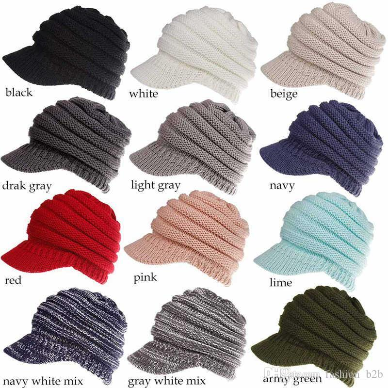 Wholesale Winter CC Ponytail Hats Knitted Baseball Beanie Warm Caps ... f930c72c052