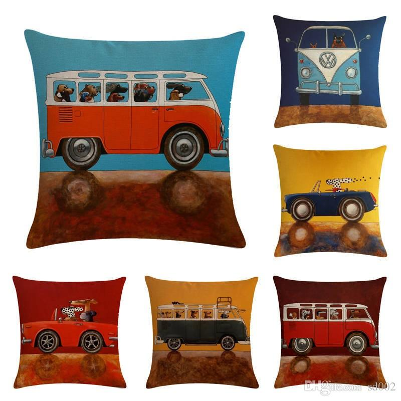 Vintage Square Linen Cushion Cover Cartoon Bus Dog Pattern Pillow Case For Home Decoration Throw Pillows Cases Popular 5 5zm WW