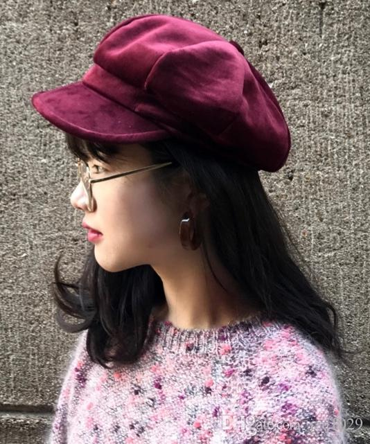 Compre 2018 New Hat Boina De Veludo De Inverno Feminino Ao Ar Livre Artista  Chapéu Moda Cap Octagonal Europeu E Americano Quente Pato Tongue Cap De  Jzq1029 25da88000f6