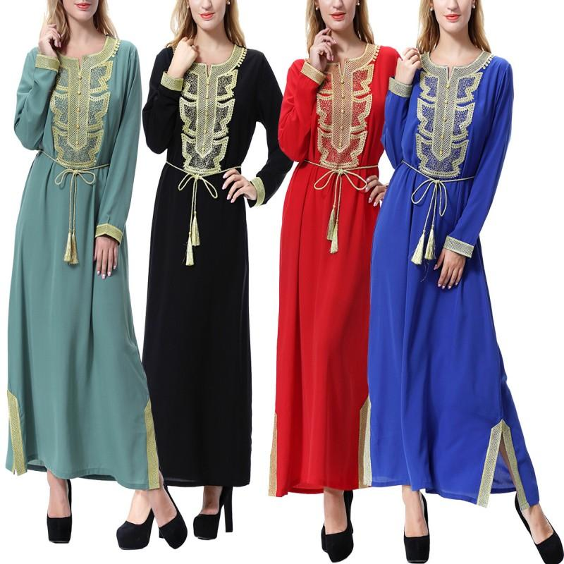 2bae9614a2e YSMARKET Muslim Women Abaya Embroidery Maxi Dress Middle East ...