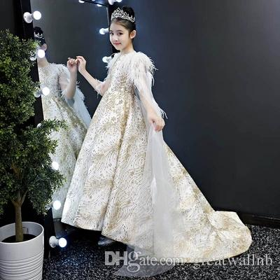 074187af1df Free ship children's girls luxury feather champagne glitter cloak long dress  stage costume renaissance gown dress