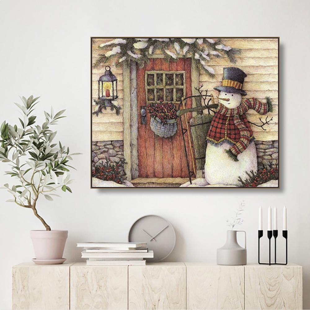 Laeacco Snowman Door Canvas Painting Calligraphy Unique Gift Home Living Room Bedroom Decoration Modern Wall Artwork Picture