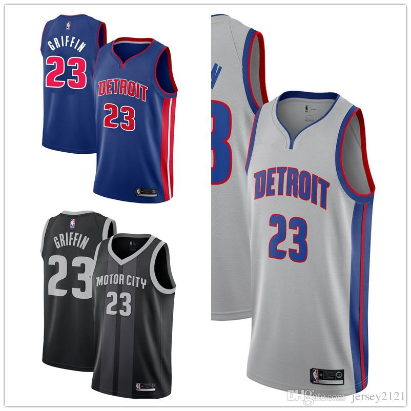 super popular 90daa 12eca Hot 2019 Men Detroit Blake Griffin Pistons City Jersey Blue Edition  Swingman Jersey Black New S-XXXL